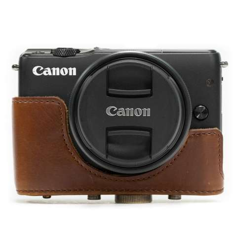 Canon EOS M10 / M100 Leather Bag / Case / Tas Kulit Kamera Mirrorless 15-45 MM / 18-55 MM - Coklat Tua 2