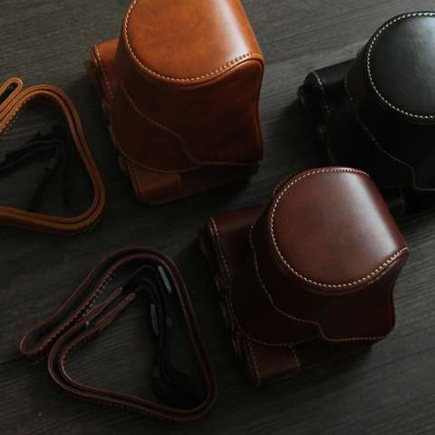 Canon EOS M10 / M100 Leather Bag / Case / Tas Kulit Kamera Mirrorless 15-45 MM / 18-55 MM - Coklat Tua 6