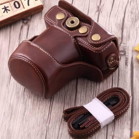 Canon EOS M10 / M100 Leather Bag / Case / Tas Kulit Kamera Mirrorless 15-45 MM / 18-55 MM - Coklat Tua 4