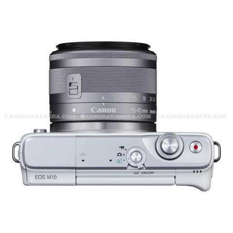 CANON EOS M10 WHITE + EF-M15-45 IS STM Kit Wifi 18MP CMOS Touchscreen Lcd Full Hd (Datascrip) + Sandisk 8gb + Screen Protector 1
