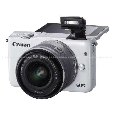 CANON EOS M10 WHITE + EF-M15-45 IS STM Kit Wifi 18MP CMOS Touchscreen Lcd Full Hd (Datascrip) + Sandisk 8gb + Screen Protector 6