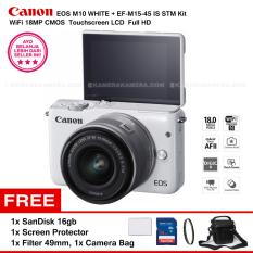 Canon EOS M10 (White) + EF-M15-45 IS STM Kit Wifi 18MP CMOS Touchscreen LCD Full HD + SanDisk 16GB + Screen Protector + Filter 49mm + Camera Bag