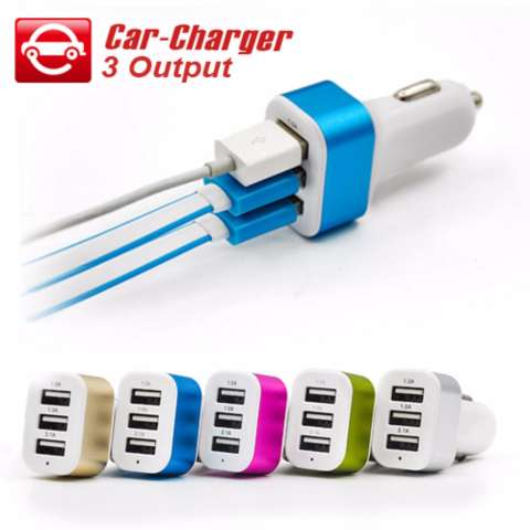 Car Charger 5.1A 3 Port Charger Mobil - Multicolour + Gratis 1 Buah Kabel Data