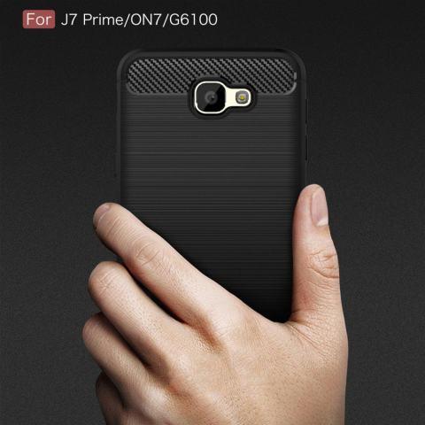 Serat Karbon Seri Bisa Tekstur Shock Penyerapan Case untuk Samsung Galaxy On7 (2016) /Pada NXT/J7 Prime-Intl 1