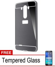 Case Aluminium Bumper Mirror for LG G3 - Black  + Free Tempered Glass