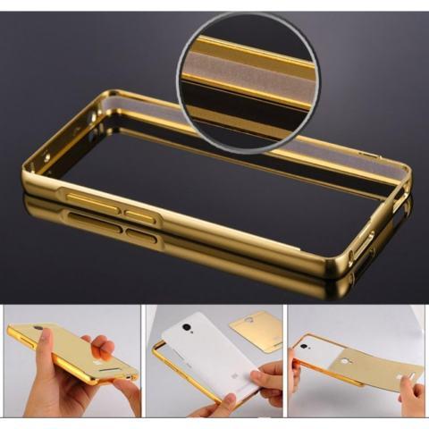 Case Aluminium Bumper Mirror sleding for OPPO a33 Neo 7 oppo a33 neo7 - gold +
