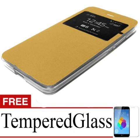 Case Flip Cover For Xiaomi Redmi Note 2 + Free Temperedglass - Gold