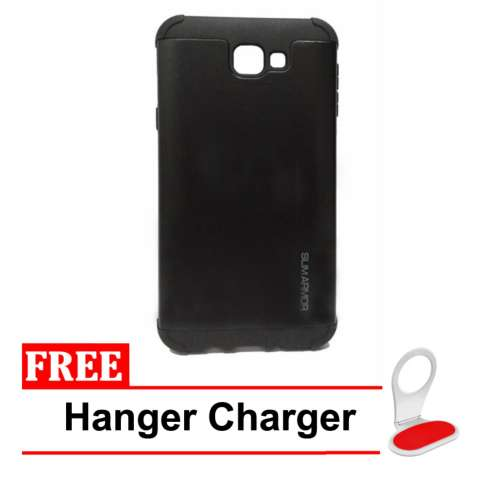 Case for Samsung Galaxy J5 Prime Slim Armor Series - Hitam + Free Hanger Charger