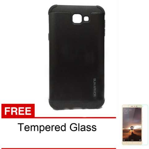 Case for Samsung Galaxy J5 Prime Slim Armor Series - Hitam + Free Tempered Glass