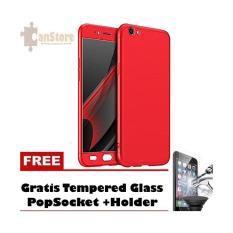 Case Hardcase 360 Oppo A57 Free Tempered Glass +Popsocket + Holder