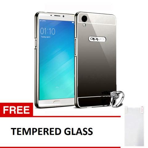 Case Mirror Aluminium Bumper For Oppo F1 Plus - Hitam + Gratis Tempered Glass
