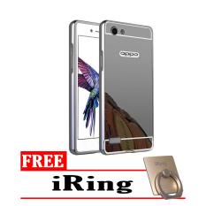 Case Oppo Neo 7  Bumper Mirror Slide Hitam - Free iRing