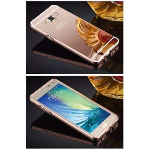 Case Samsung Galaxy J5 Prime Aluminium Bumper With Mirror Backdoor Slide - Rose Gold + Free
