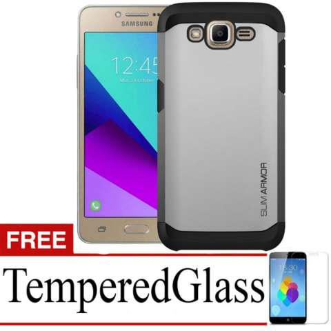Case Slim Armor for Samsung Galaxy J2 Prime + Free TemperredGlass - Silver