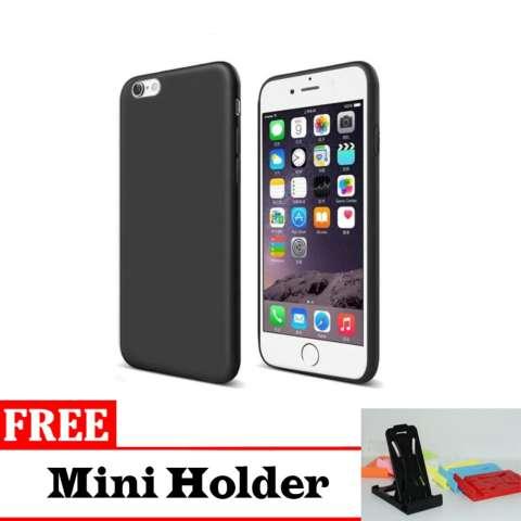 Case Slim Black Doff Matte for I-Phone 7 Anti Minyak - Free Mini holder