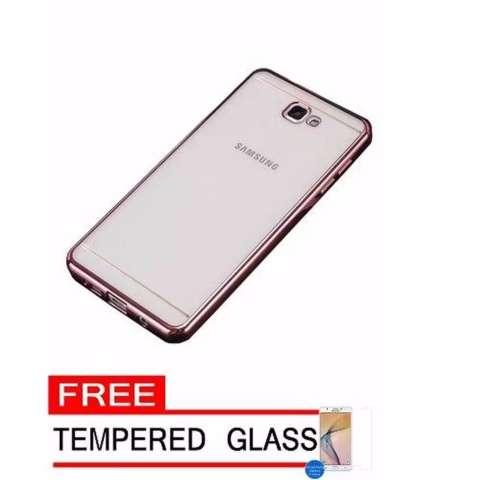 Case Ultrathin Shining List Chrome Samsung Galaxy J2 Prime Rose Gold + Gratis Tempered Glass