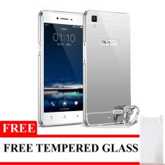 Case Untuk Oppo F1 Selfie Expert Alumunium Bumper With Mirror Backdoor Slide- Silver + Gratis Tempered Glass