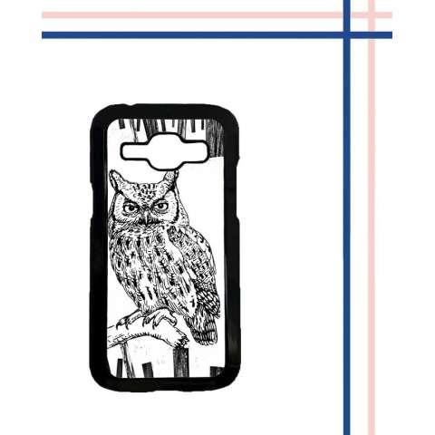 Casing HARDCASE Bergambar Motif Untuk Samsung Galaxy J1 ACE owl black white simple L0860