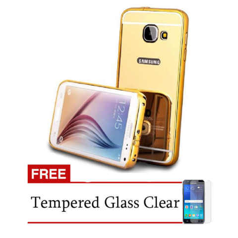 Casing Metal Bumper Mirror for Samsung Galaxy A7 (A710) - Gold + Free Tempere