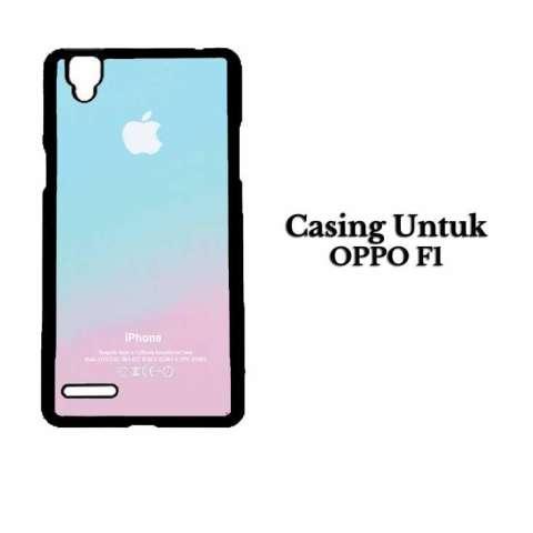 Casing OPPO F1 Apple Logo Pink Aqua Teal Pastel Hardcase Custom Case Cover