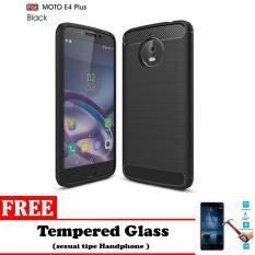 Casing Soft Ipaky Carbon Neo Hybrid for Motorola MOTO E4 + / MOTO E4 plus - Bonus TEMPEREDGLASS (pelindung layar)