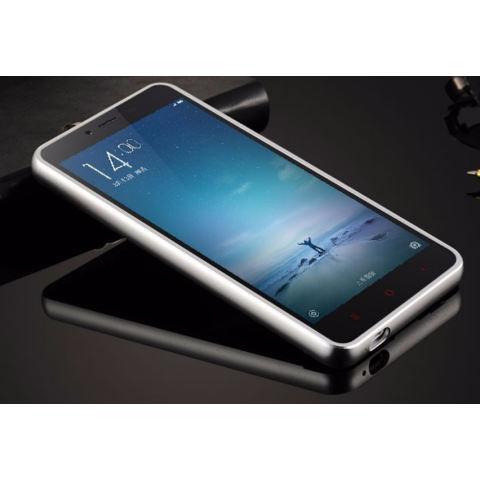 Casing Xiaomi Redmi Note 2 Metal Aluminium Bumper with Polycarbonate Backcase - Silver