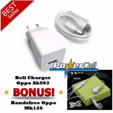 Charger Oppo 2A type AK903 Original + Bonus Handsfree Oppo Mh126 - Putih