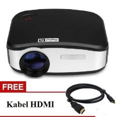 CHEERLUX C6 New mini LED projector 800x480 pixels 1200 lumens + Digital TV Tunner Free HDMI - Hitam
