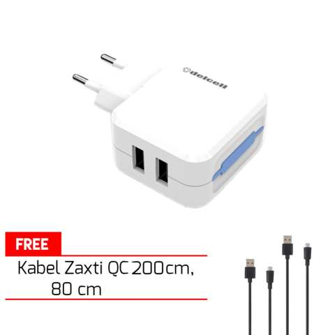 Home; Delcell Adaptor Charger 3.1A Dual Output Free Kabel Zaxti Quick Charging 80cm dan