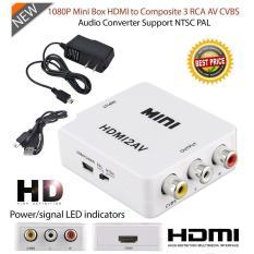 Digital HDMI untuk RCA Komposit Video Audio AV CVBS Konverter Adaptor 720 P/1080 P (Putih) -Intl