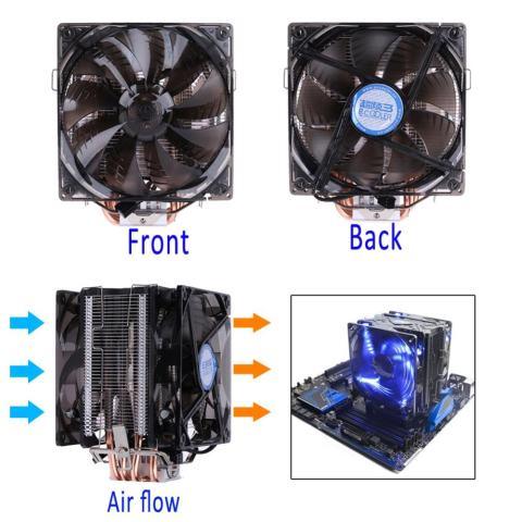 Dual Fan CPU Hening Cooler Heatsink untuk Intel LG775 LG115X untuk AMD FM2 FM1-Intl 3