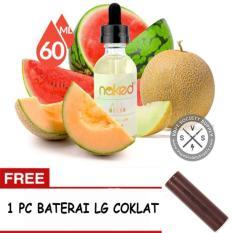 E-Liquid Naked USA Premium Rokok Elektrik Refill kemasan 1 botol x 60 ml - All Melon + FREE 1 PC Baterai LG Coklat