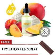 E-Liquid Naked USA Premium Rokok Elektrik Refill kemasan 1 botol x 60 ml - Rasa Amazing Mango + FREE Baterai LG