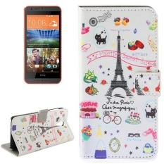 Eiffel Tower Giff Pattern Horizontal Flip Magnetic Buckle Leather Case With Holder and Card Slots and Wallet For HTC Desire 620