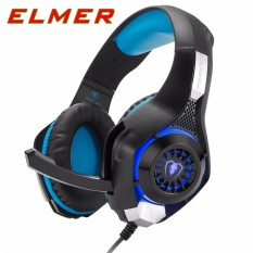 ELMER GM-1 3.5mm Gaming Headset LED Light Over-Ear Headphones With Volume Control Microphone For PC Xbox One Laptop Tablet (Black Blue)