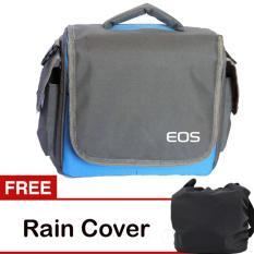 EOS Tas Kamera 2 Lensa - Biru + Gratis Rain Cover