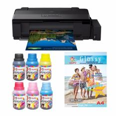 Epson Printer L1800 SUN Premium Ink NFI 100ml BCMYLcLm Bonus SUN N.G Glossy Photo Paper A3