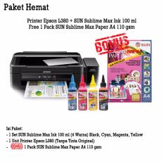 Epson Printer L380 SUN Sublime Max Ink (BCMY) Bonus SUN Sublime Max Paper A4