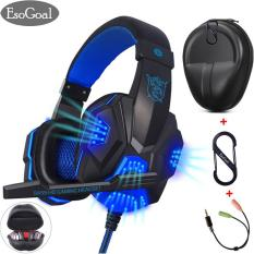 EsoGoal Permainan Headset Wired Gaming Workout Headphone Sport Earphone dengan Mikrofon untuk PC Smartphone dengan Carrying Hard Case dan Splitter Kabel