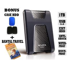 External Hdd 1Tb Usb 3.0 Adata HD650Antishock / Waterproof / Dustproof / Ext HDD Adata 650 / Hardisk External - Hitam + Gratis Case Hdd + Bantal Travel