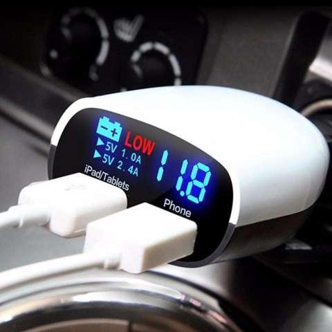 Fast Car Charger 3.4A LED Dual USB Charger Mobil + Cek Kesehatan Aki Mobil