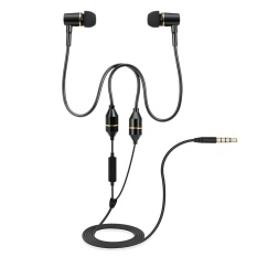 FC12 Stereo Musik Headset Air Tube 3.5mm Anti-radiasi Earphone In-Ear Headphone Radiasi Free Noise Reduction Line Control dengan MIC Hitam untuk Smart Phones Desktop Notebook Tablet PC-Intl