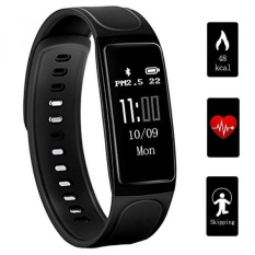 Fitness Tracker,Teetox 0.96Inch OLED Heart Rate Monitor Smart Wristband Swimming Activity Tracker Smart Bracelet with Step Tracker/Calorie Counter/Sleep Monitor for iPhone iOS and Android Phone,Black - intl
