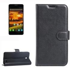 untuk Alcatel One Touch Idol X Lengkeng Tekstur Case Kulit Horisontal Flip dengan Pemegang dan Slot Kartu dan Dompet (hitam)
