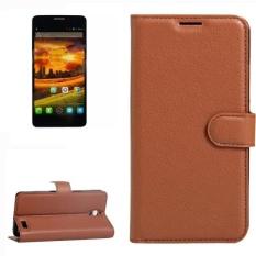 untuk Alcatel One Touch Idol X Lengkeng Tekstur Case Kulit Horisontal Flip dengan Pemegang dan Slot Kartu dan Dompet (brown)