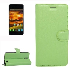 For Alcatel One Touch Idol X Litchi Texture Horizontal Flip Leather Case With Holder and Card Slots and Wallet (Green)