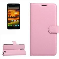 untuk Alcatel One Touch Idol X Lengkeng Tekstur Case Kulit Horisontal Flip dengan Pemegang dan Slot Kartu dan Dompet (pink)