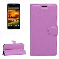 For Alcatel One Touch Idol X Litchi Texture Horizontal Flip Leather Case With Holder and Card Slots and Wallet (Purple)