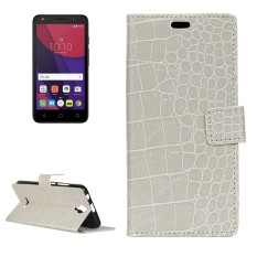 For Alcatel PIXI4 5.0 OT5010D 3G Retro Crocodile Texture Horizontal Flip Leather Case with Holder and Card Slots and Wallet and Photo Frame (White) - intl