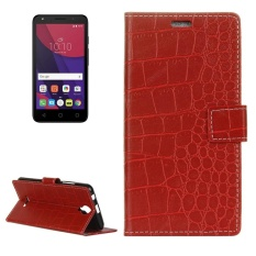 For Alcatel PIXI4 5.0 OT5010D 3G Retro Crocodile Texture Horizontal Flip Leather Case With Holder and Card Slots and Wallet and Photo Frame (Red) - intl